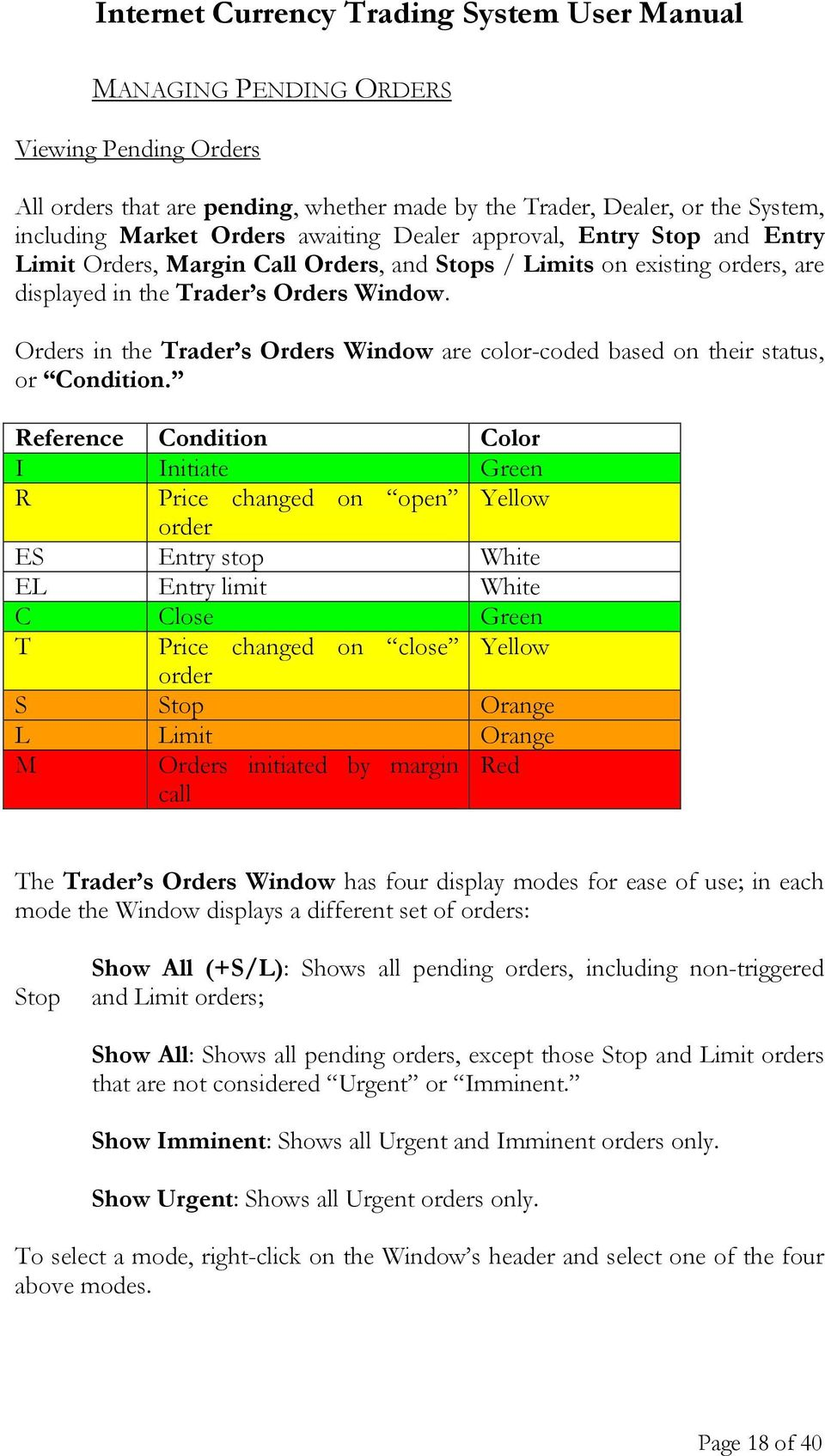 Orders in the Trader s Orders Window are color-coded based on their status, or Condition.
