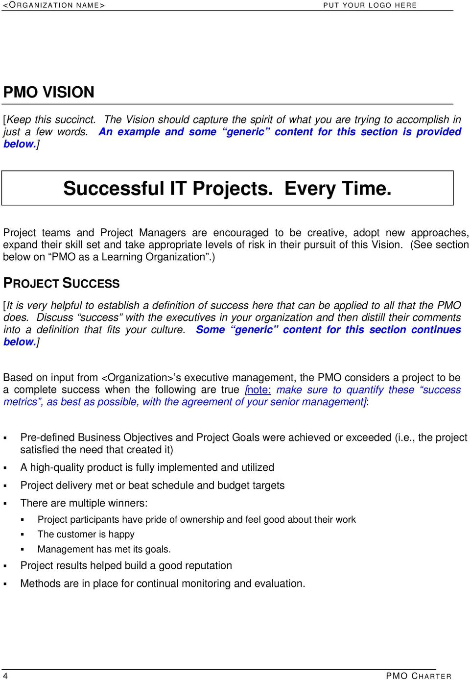 IT PROJECT MANAGEMENT OFFICE PMO CHARTER Information