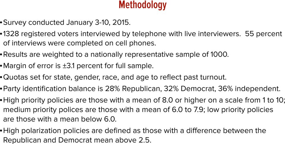 Party identification balance is 28% Republican, 32% Democrat, 36% independent. High priority policies are those with a mean of 8.