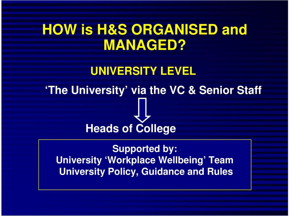 Senior Staff Heads of College Supported by: