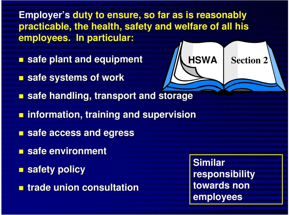 In particular: safe plant and equipment HSWA Section 2 safe systems of work safe handling,