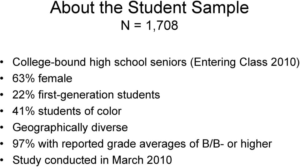 students 41% students of color Geographically diverse 97% with