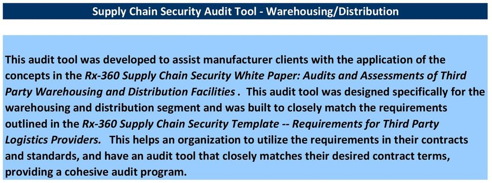 This audit tool was designed specifically for the warehousing and distribution segment and was built to closely match the requirements outlined in the Rx-360 Supply Chain Security