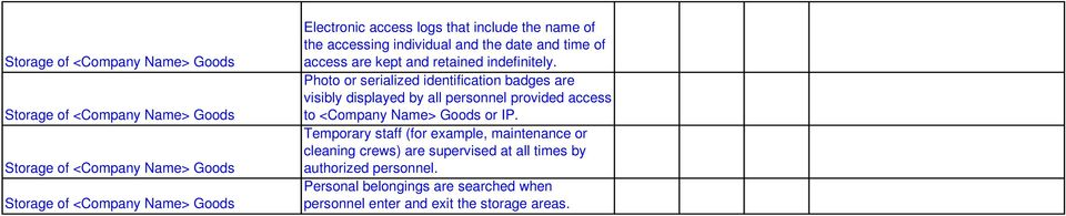 Photo or serialized identification badges are visibly displayed by all personnel provided access to <Company Name> Goods or IP.