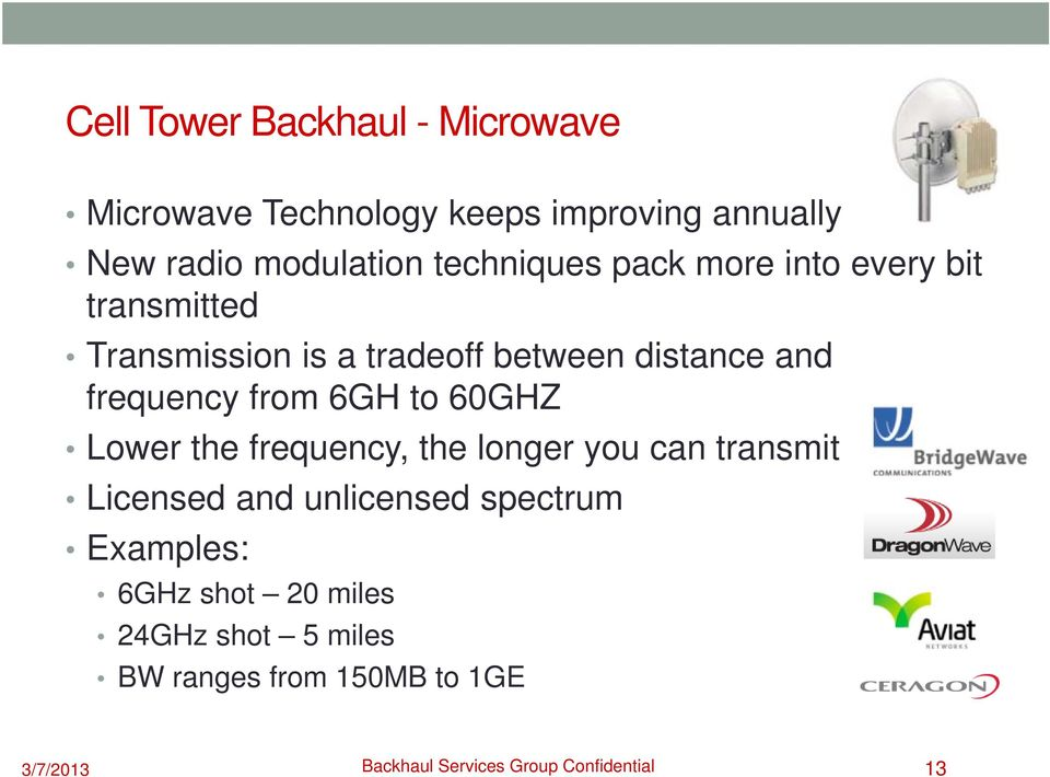 from 6GH to 60GHZ Lower the frequency, the longer you can transmit Licensed and unlicensed spectrum