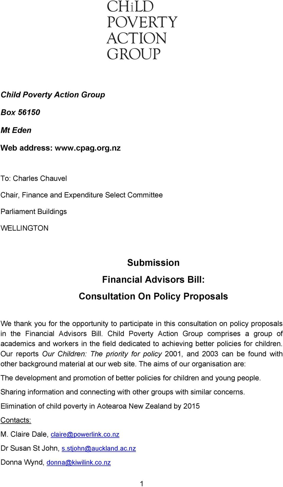 opportunity to participate in this consultation on policy proposals in the Financial Advisors Bill.