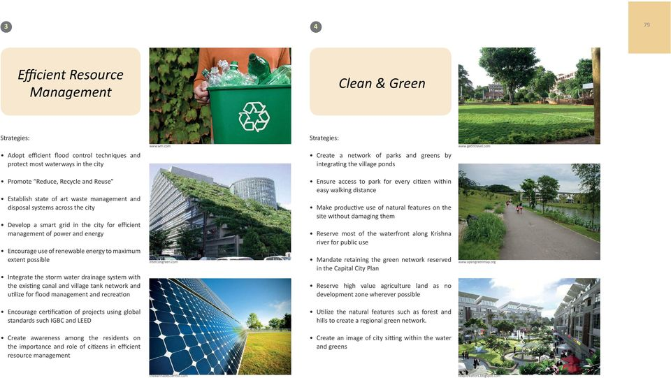 state of art waste management and disposal systems across the city Develop a smart grid in the city for efficient management of power and energy Encourage use of renewable energy to maximum extent