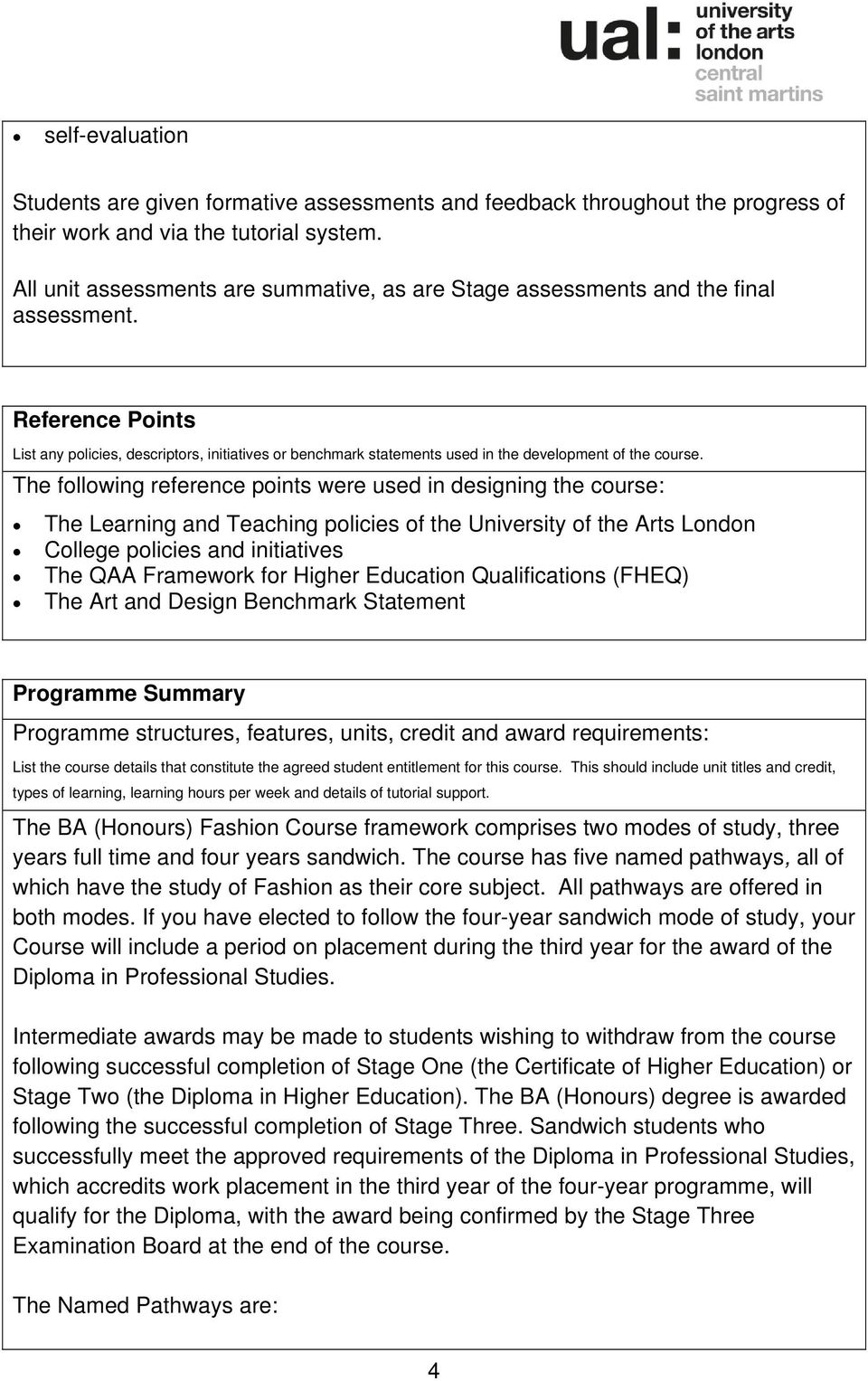 Reference Points List any policies, descriptors, initiatives or benchmark statements used in the development of the course.