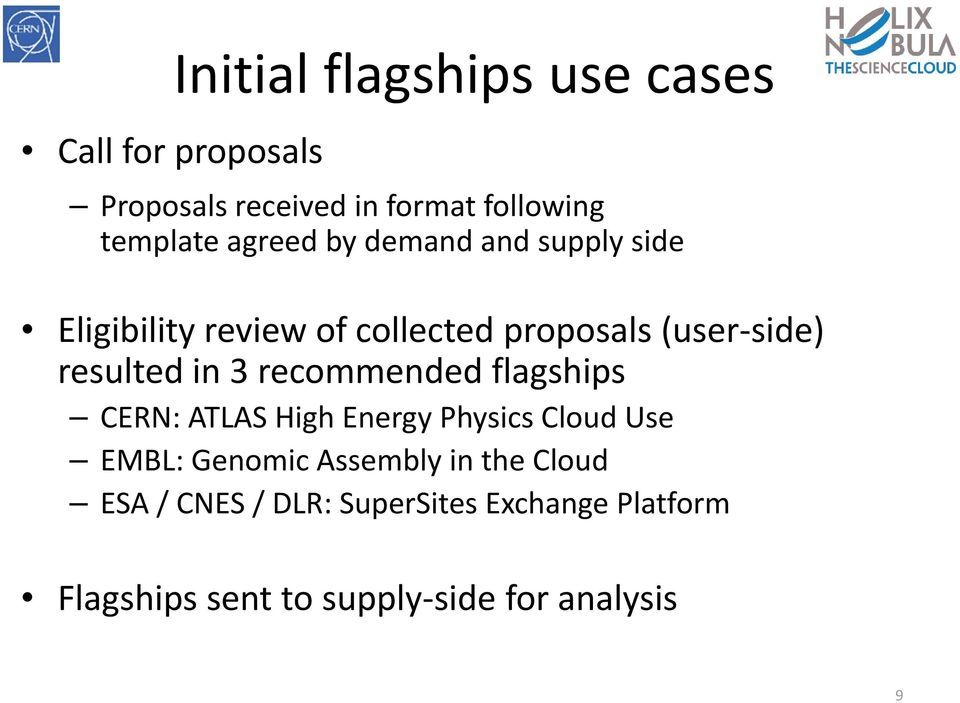 in 3 recommended flagships CERN: ATLAS High Energy Physics Cloud Use EMBL: Genomic Assembly in