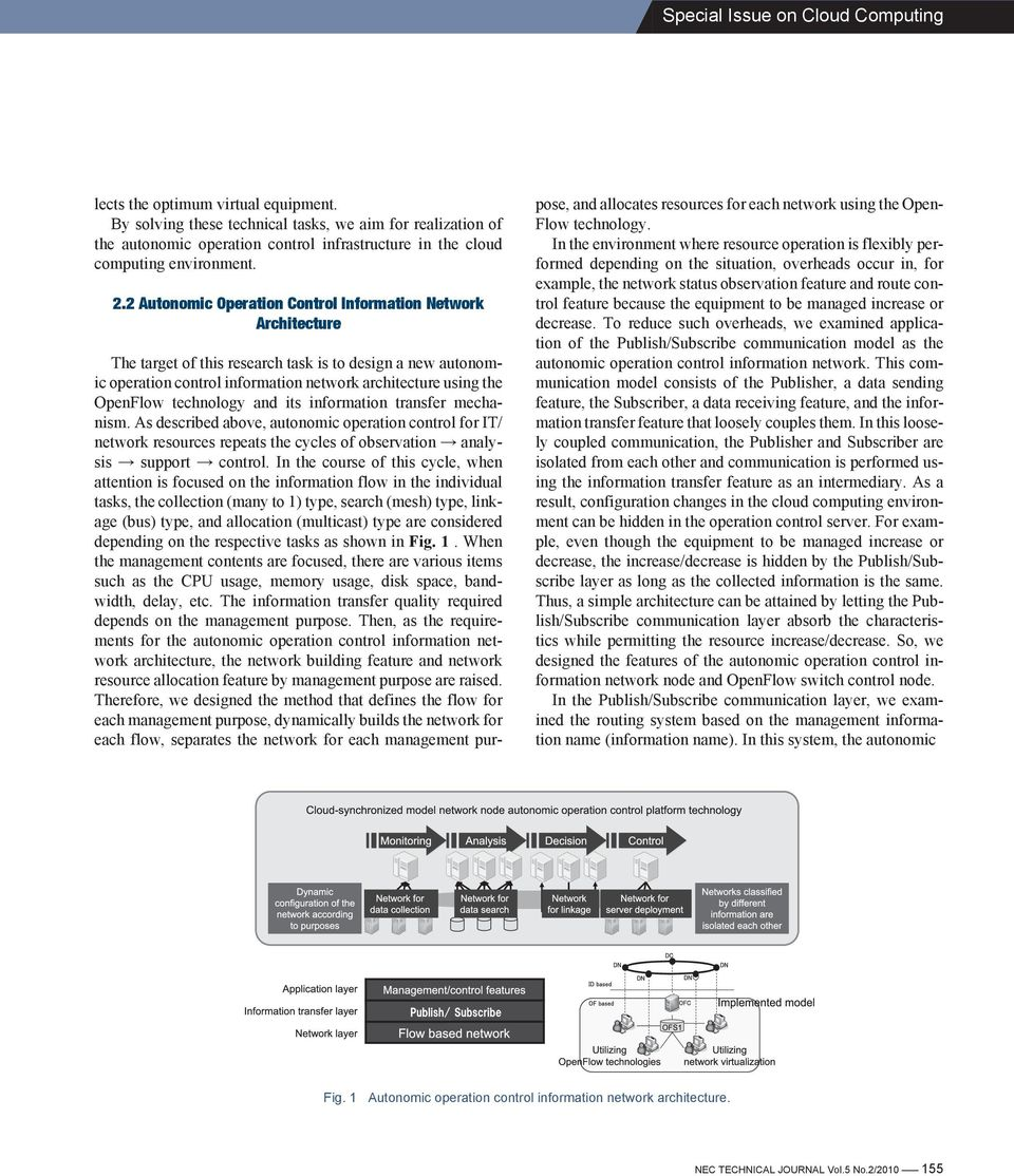 2 Autonomic Operation Control Information Network Architecture The target of this research task is to design a new autonomic operation control information network architecture using the OpenFlow