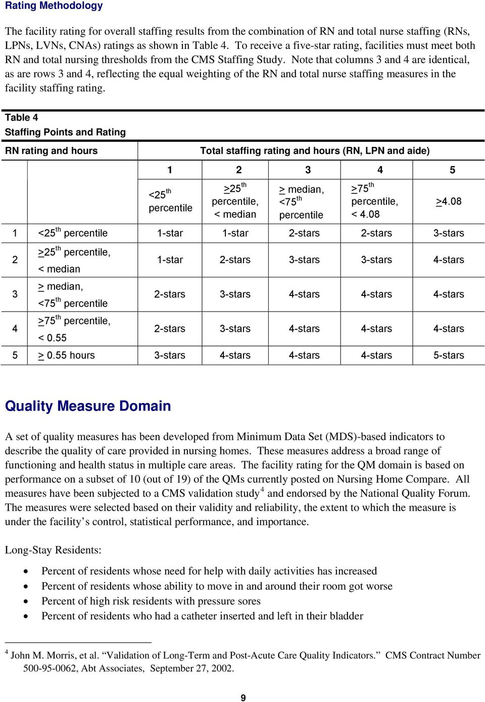 Note that columns 3 and 4 are identical, as are rows 3 and 4, reflecting the equal weighting of the RN and total nurse staffing measures in the facility staffing rating.