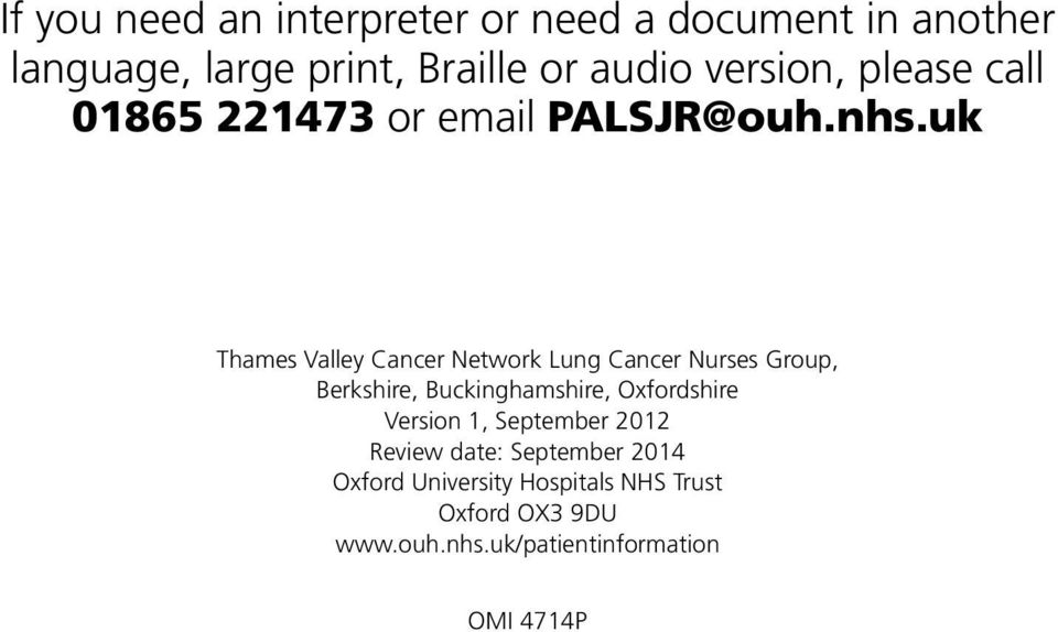 uk Thames Valley Cancer Network Lung Cancer Nurses Group, Berkshire, Buckinghamshire, Oxfordshire