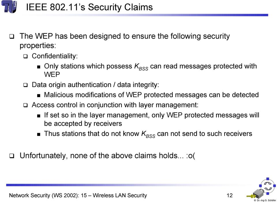 messages protected with WEP Data origin authentication / data integrity: Malicious modifications of WEP protected messages can be detected Access control