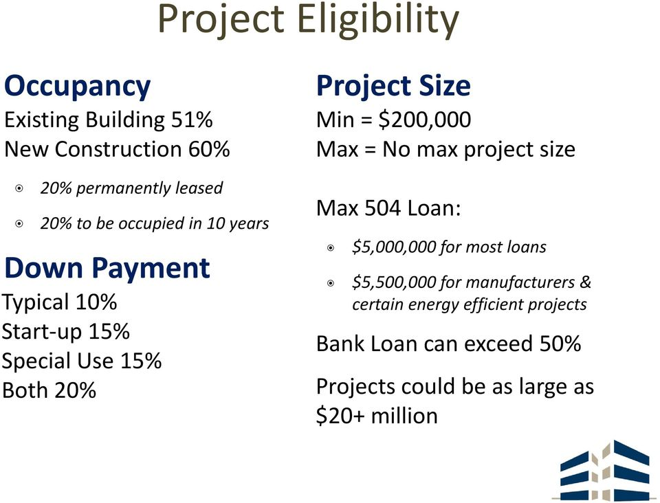 $200,000000 Max = No max project size Max 504 Loan: $5,000,000 for most loans $5,500,000 for