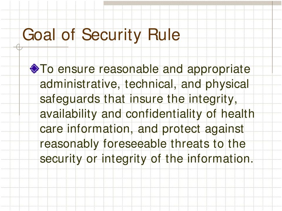 and confidentiality of health care information, and protect against