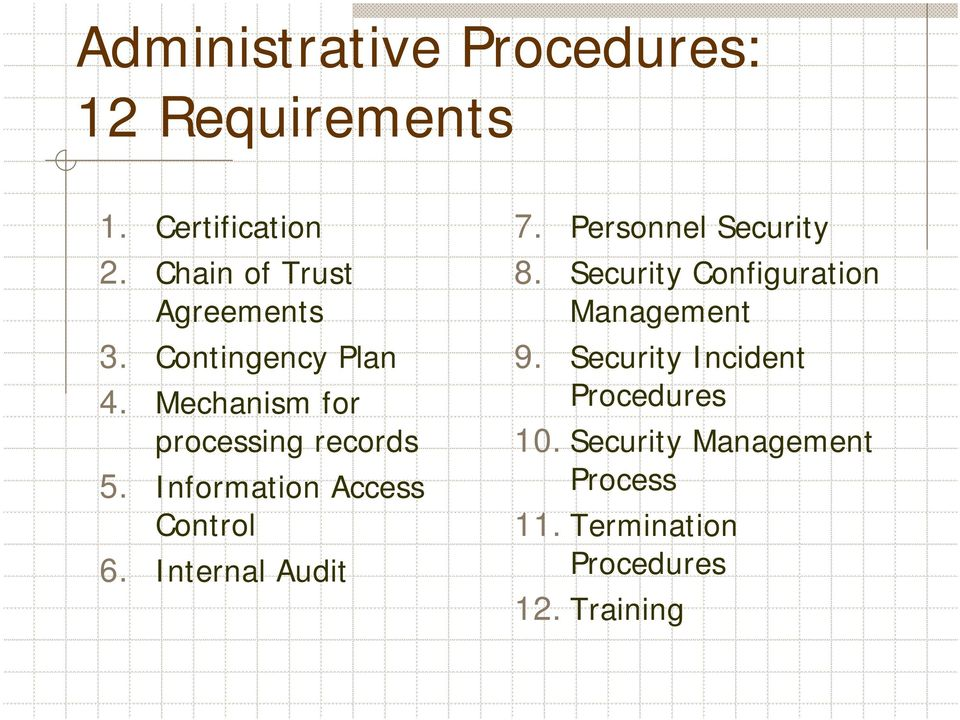 Information Access Control 6. Internal Audit 7. Personnel Security 8.