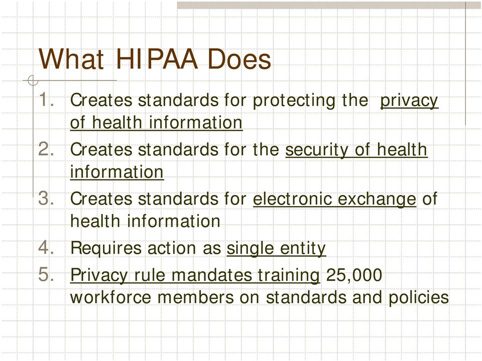 Creates standards for the security of health information 3.