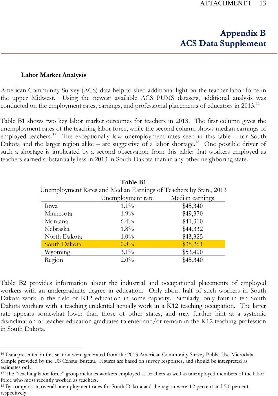 16 Table B1 shows two key labor market outcomes for teachers in 2013.