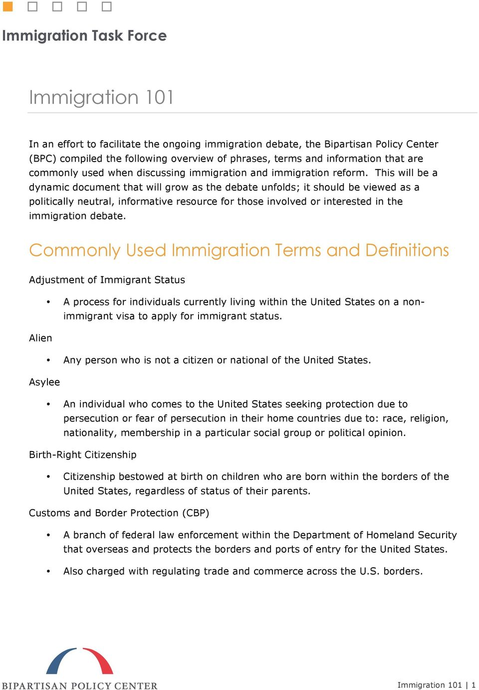 This will be a dynamic document that will grow as the debate unfolds; it should be viewed as a politically neutral, informative resource for those involved or interested in the immigration debate.