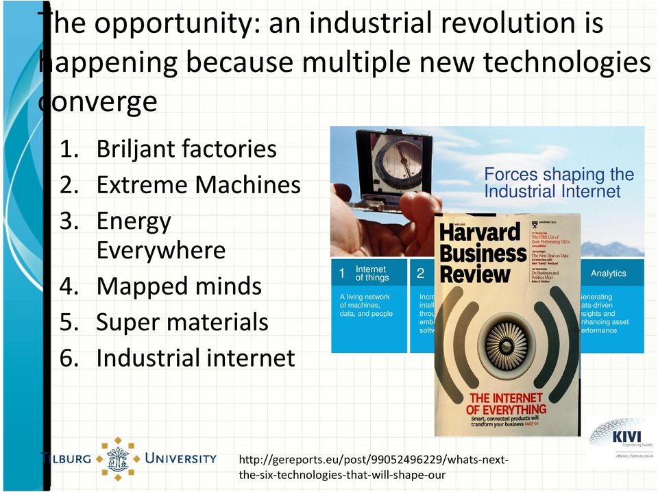 Industrial internet 1 Internet of things A living network of machines, data, and people Increasing system intelligence through embedded software Forces shaping