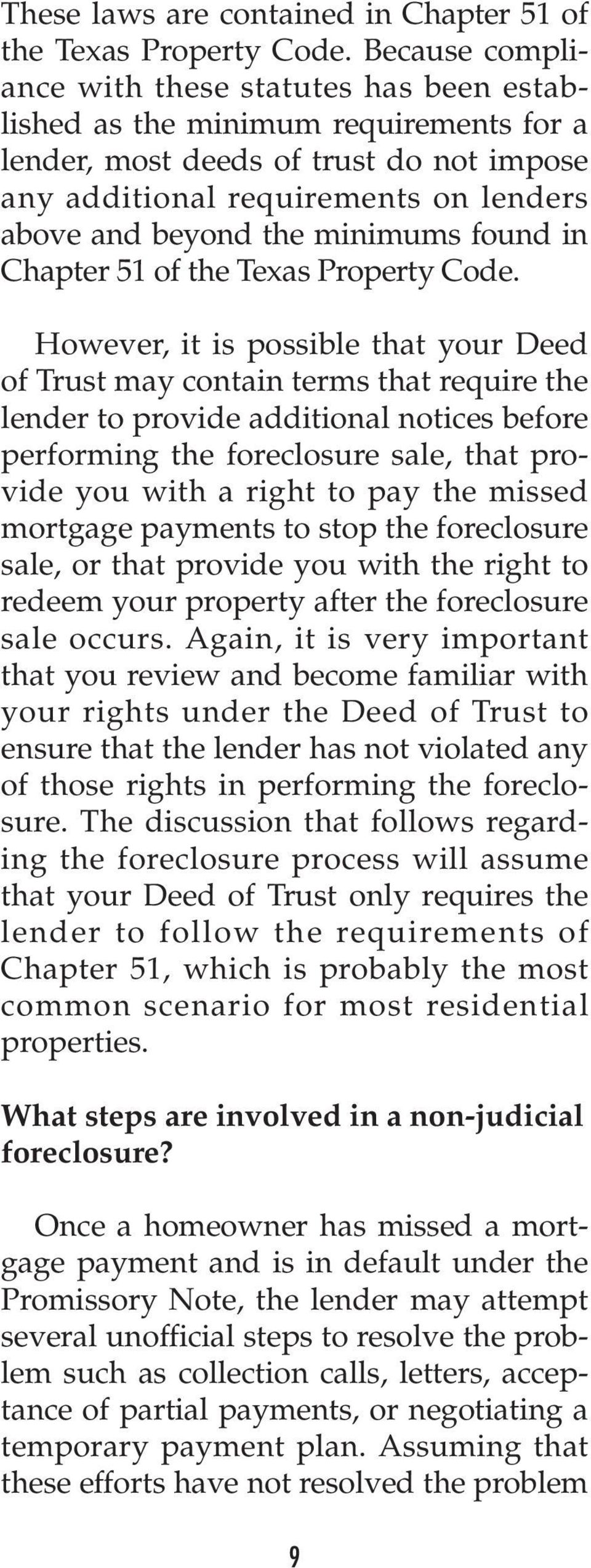 minimums found in Chapter 51 of the Texas Property Code.