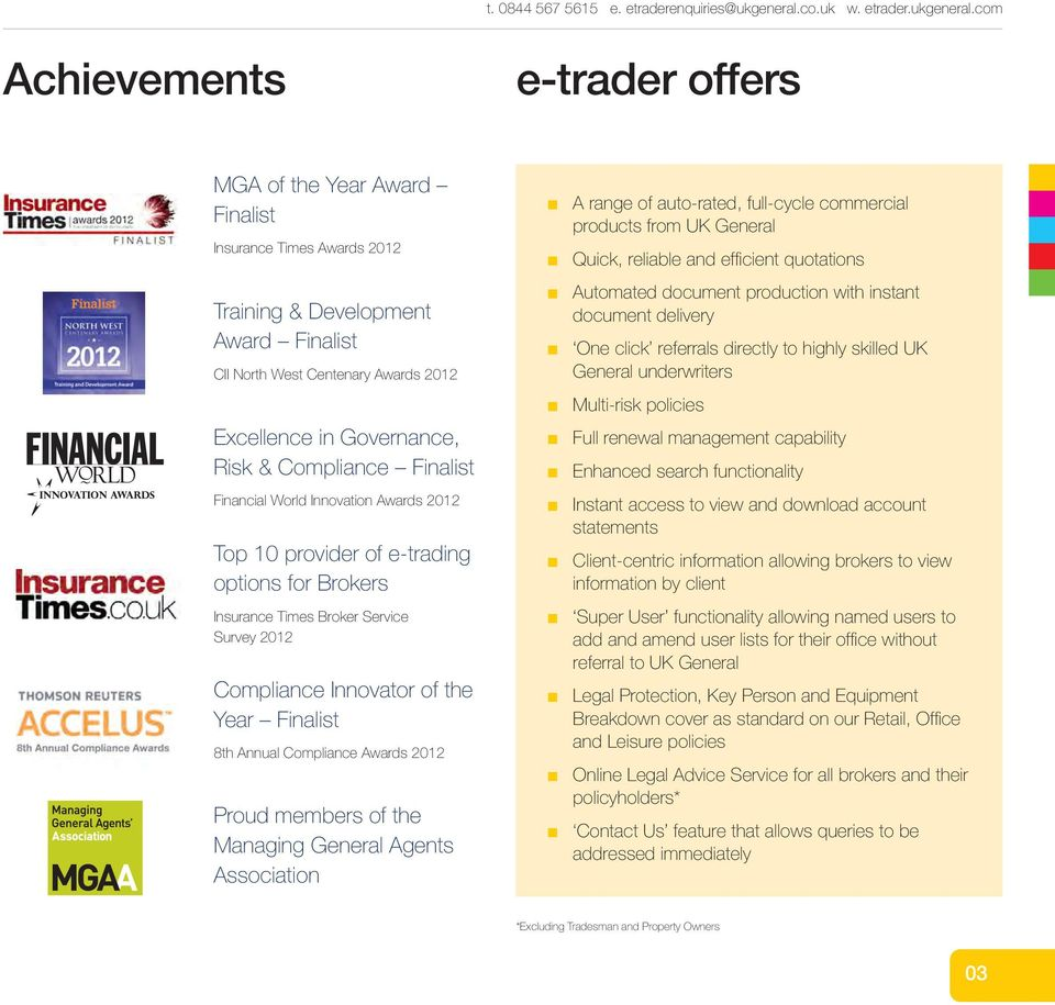 com Achievemets e-trader offers MGA of the Year Award Fialist Isurace Times Awards 2012 Traiig & Developmet Award Fialist CII North West Ceteary Awards 2012 Excellece i Goverace, Risk & Compliace