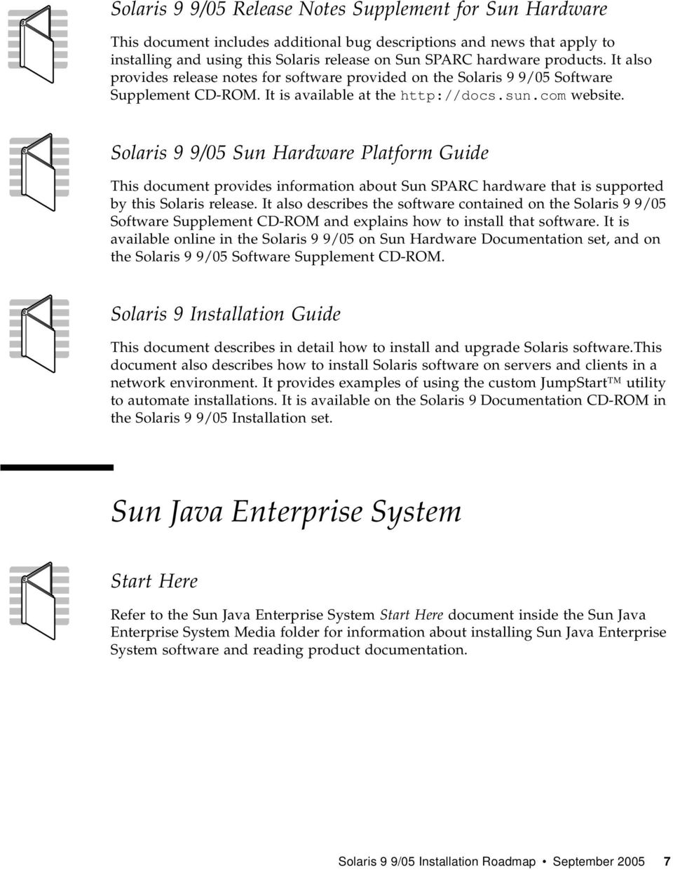 Solaris 9 9/05 Sun Hardware Platform Guide This document provides information about Sun SPARC hardware that is supported by this Solaris release.