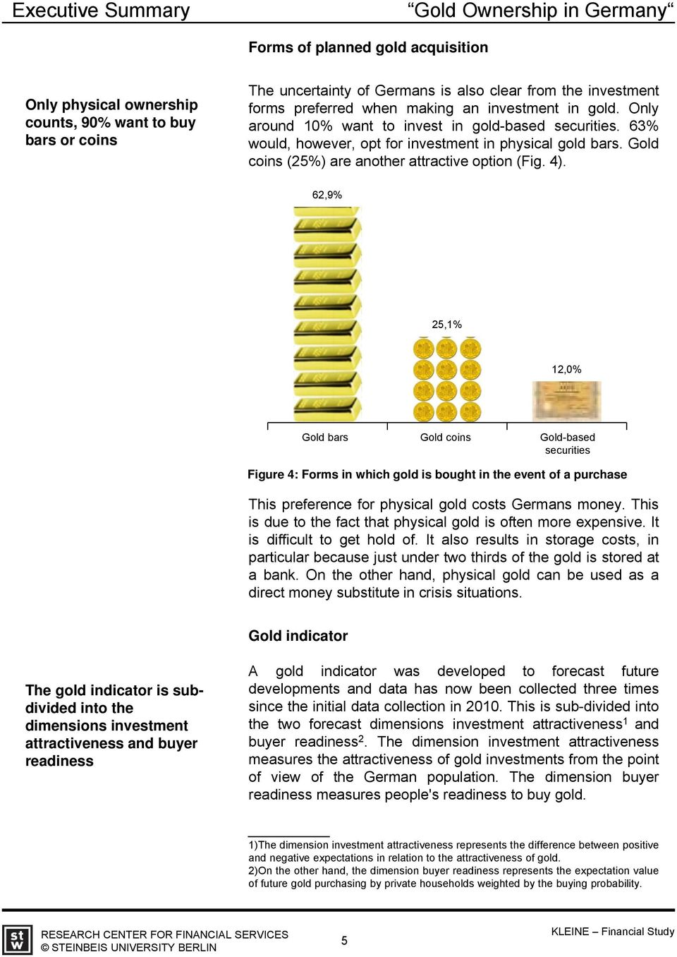 62,9% 25,1% 12,0% Gold bars Gold coins Gold-based securities Figure 4: Forms in which gold is bought in the event of a purchase This preference for physical gold costs Germans money.