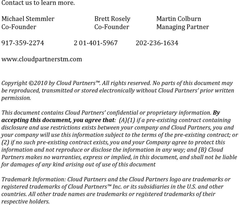 This document contains Cloud Partners confidential or proprietary information.