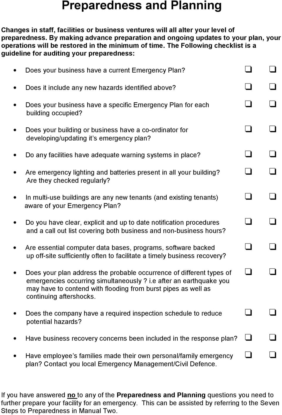 The Following checklist is a guideline for auditing your preparedness: Does your business have a current Emergency Plan? Does it include any new hazards identified above?