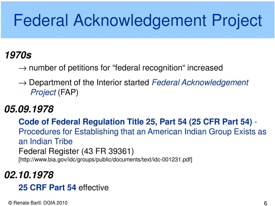 1978 Code of Federal Regulation Title 25, Part 54 (25 CFR Part 54) - Procedures for Establishing that an American Indian