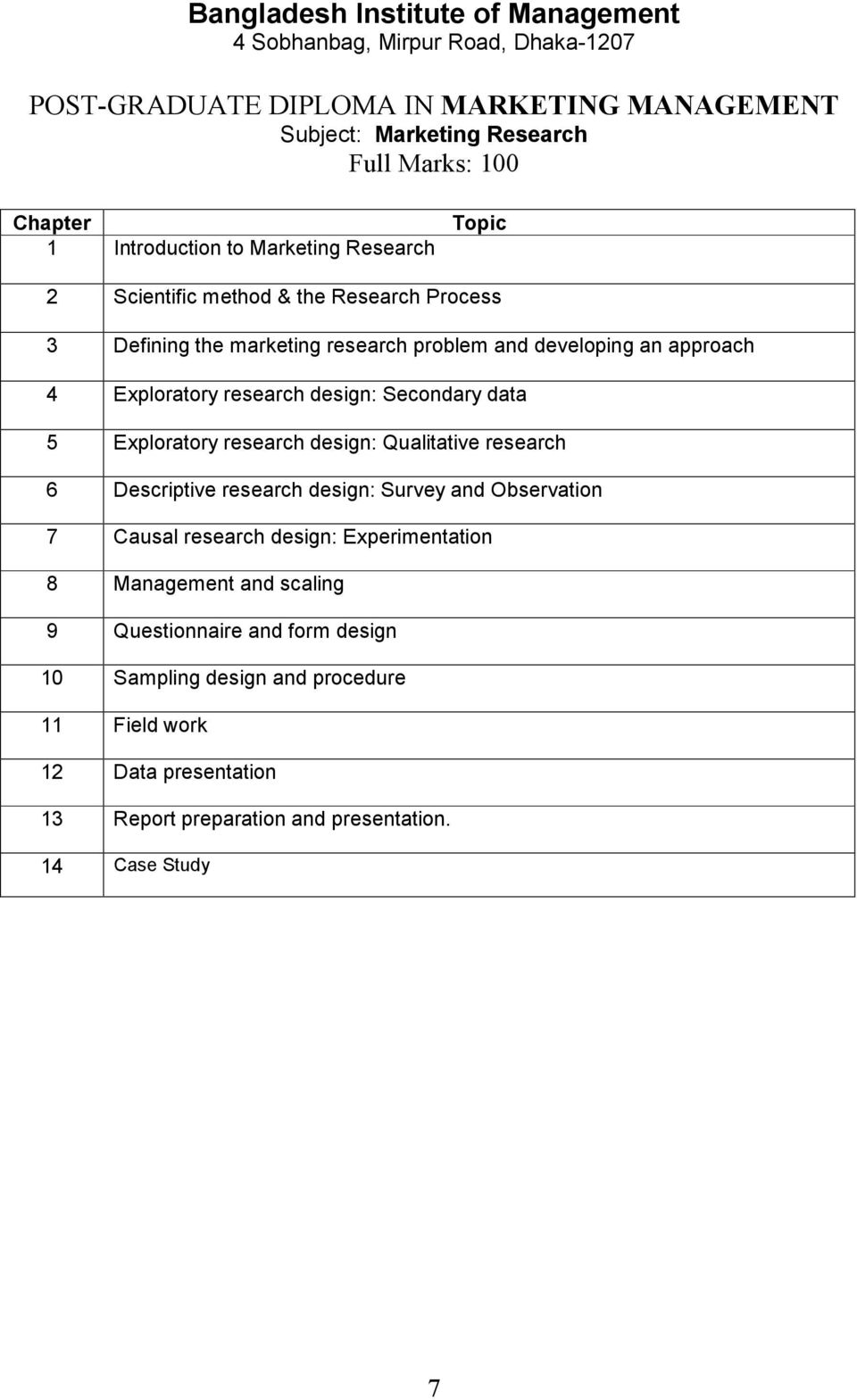 research 6 Descriptive research design: Survey and Observation 7 Causal research design: Experimentation 8 Management and scaling 9