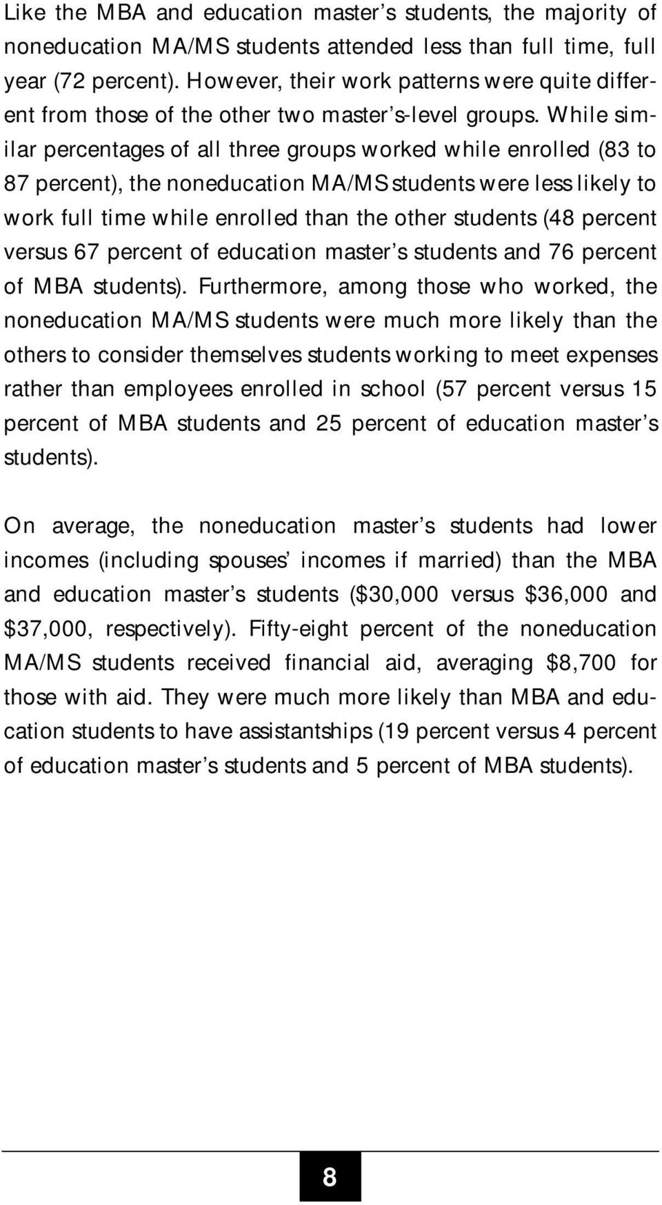 While similar percentages of all three groups worked while enrolled (83 to 87 percent), the noneducation MA/MS students were less likely to work full time while enrolled than the other students (48