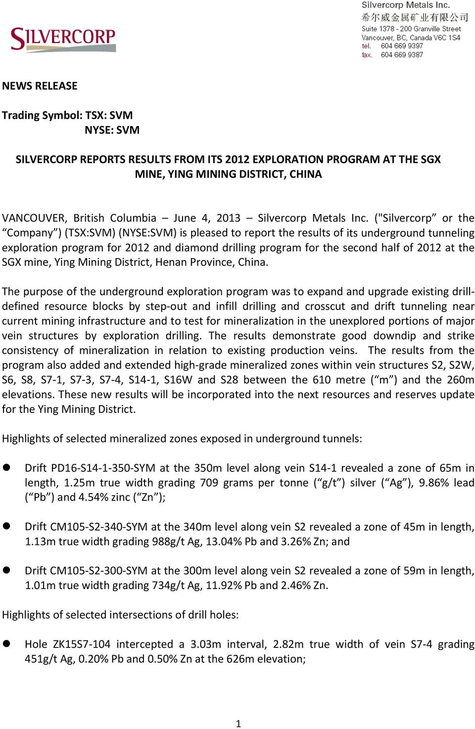 "(""Silvercorp or the Company ) (TSX:SVM) (NYSE:SVM) is pleased to report the results of its underground tunneling exploration program for 2012 and diamond drilling program for the second half of 2012"