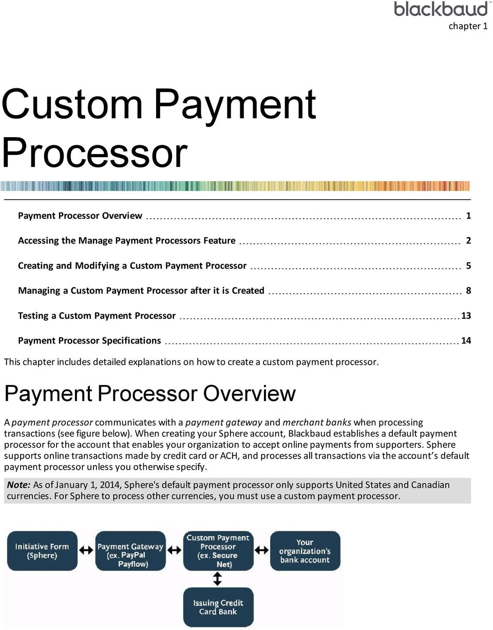 Payment Processor Overview A payment processor communicates with a payment gateway and merchant banks when processing transactions (see figure below).