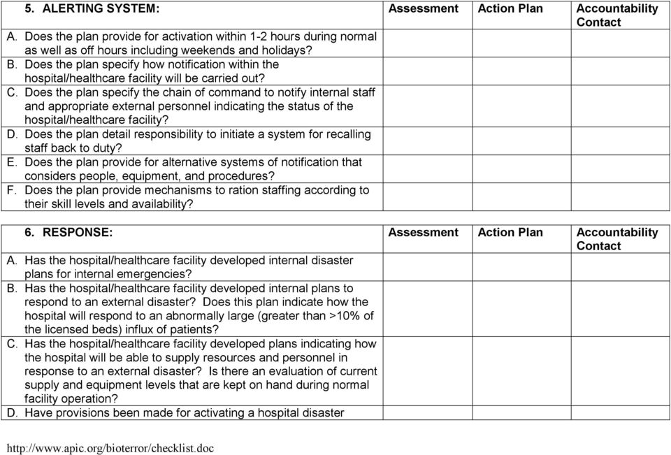 Does the plan specify the chain of command to notify internal staff and appropriate external personnel indicating the status of the hospital/healthcare facility? D.