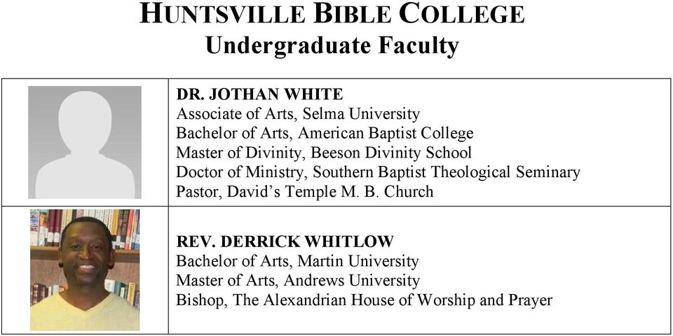 Theological Seminary Pastor, David s Temple M. B. Church REV.