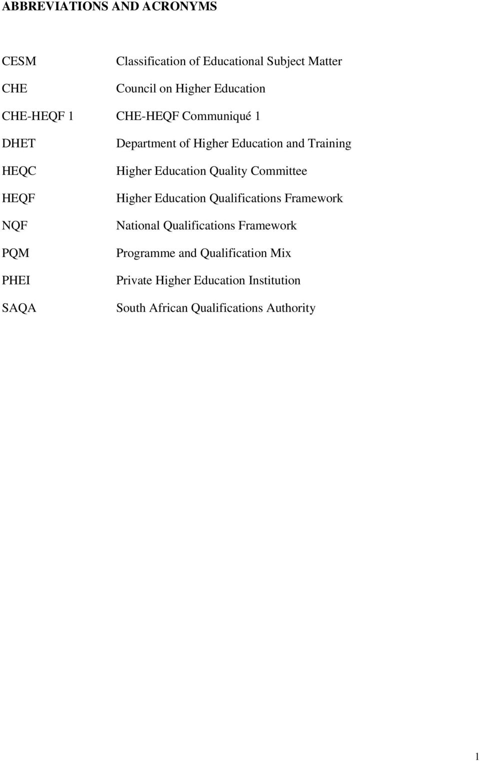 Higher Education Quality Committee Higher Education Qualifications Framework National Qualifications