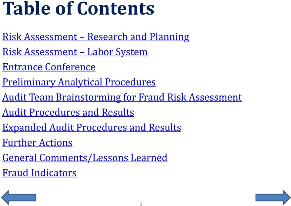 Brainstorming for Fraud Risk Assessment Audit Procedures and Results Expanded
