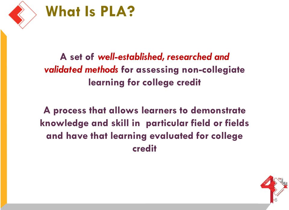 assessing non-collegiate learning for college credit A process that