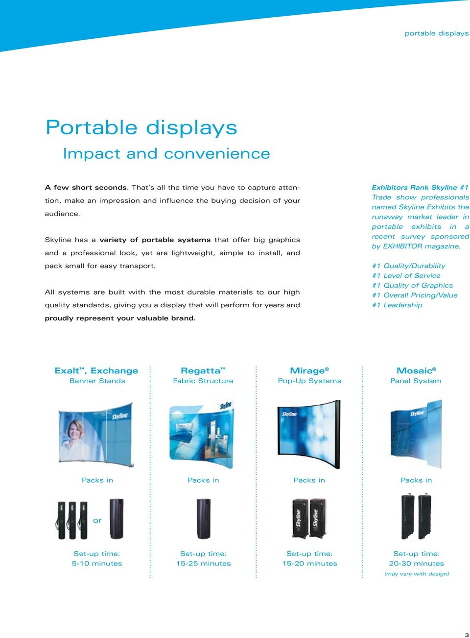 Skyline has a variety of portable systems that offer big graphics and a professional look, yet are lightweight, simple to install, and pack small for easy transport.