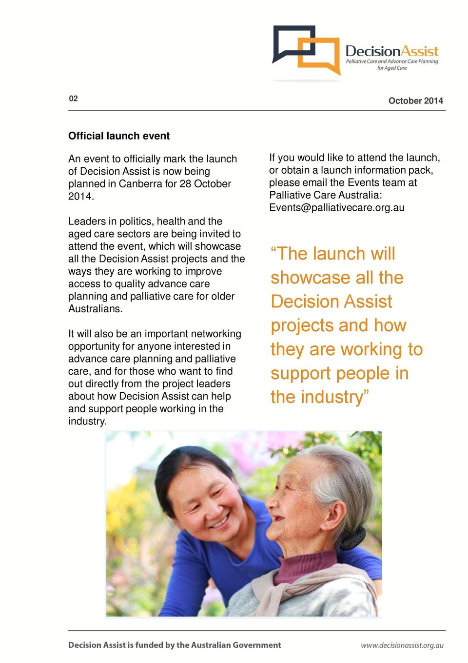 quality advance care planning and palliative care for older Australians.