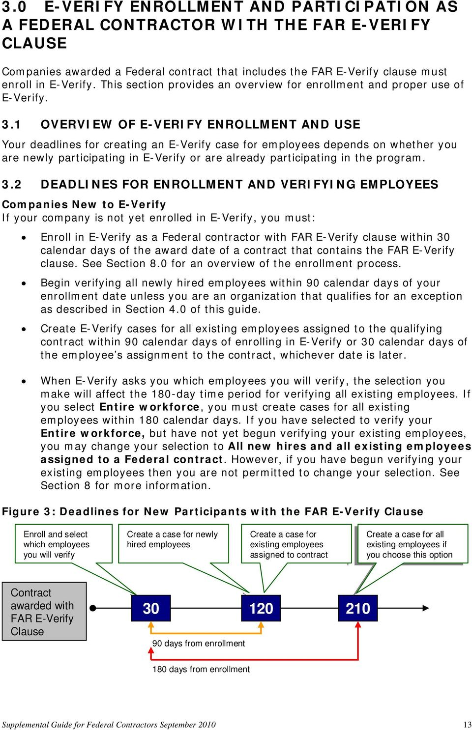 1 OVERVIEW OF E-VERIFY ENROLLMENT AND USE Your deadlines for creating an E-Verify case for employees depends on whether you are newly participating in E-Verify or are already participating in the