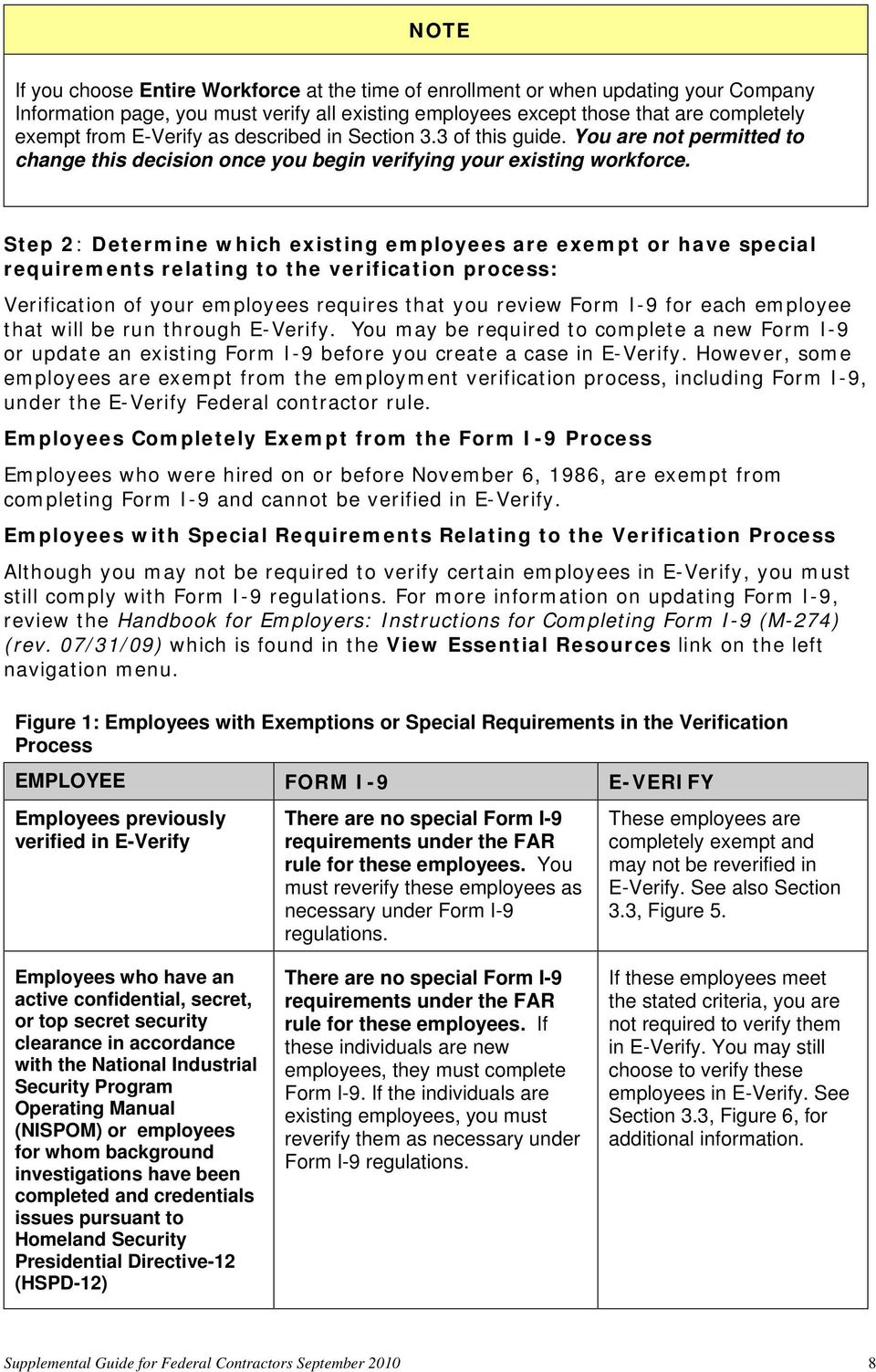 Step 2: Determine which existing employees are exempt or have special requirements relating to the verification process: Verification of your employees requires that you review Form I-9 for each