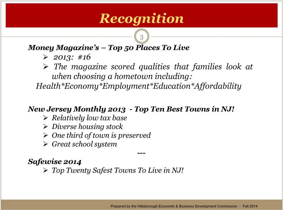 Health*Economy*Employment*Education*Affordability New Jersey Monthly 2013 - Top Ten Best Towns in NJ!