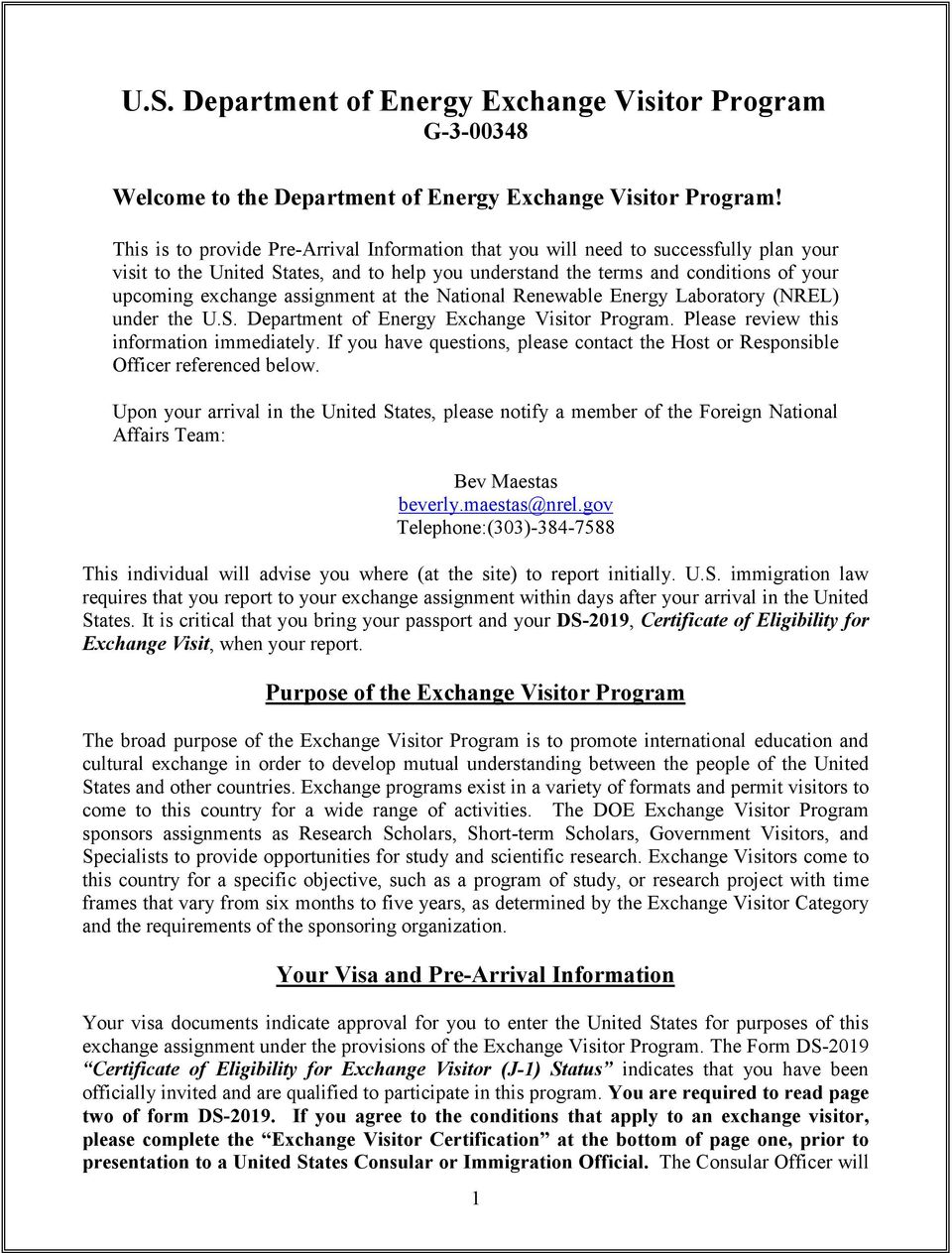 assignment at the National Renewable Energy Laboratory (NREL) under the U.S. Department of Energy Exchange Visitor Program. Please review this information immediately.