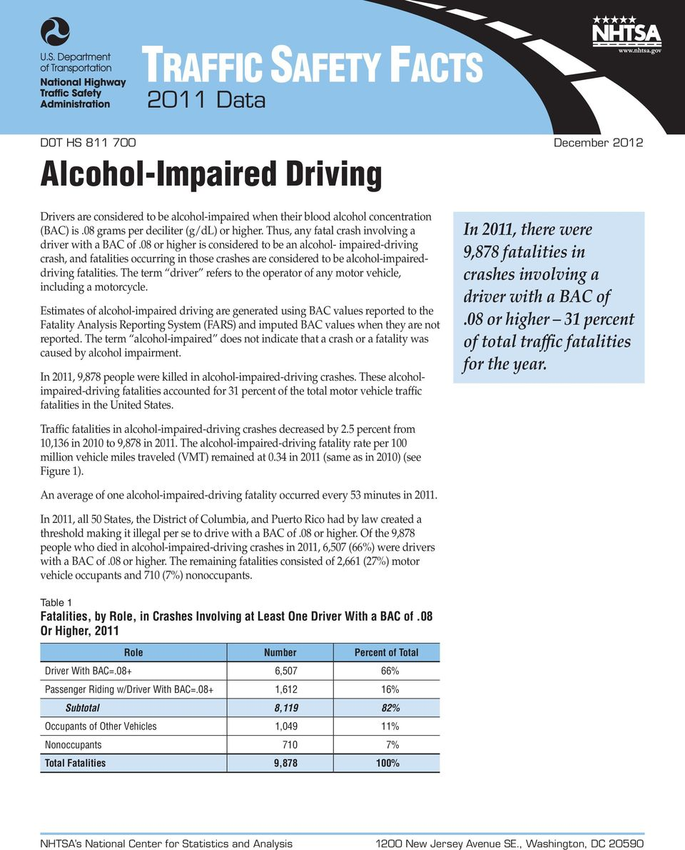 08 or higher is considered to be an alcohol- impaired-driving crash, and fatalities occurring in those crashes are considered to be alcohol-impaireddriving fatalities.