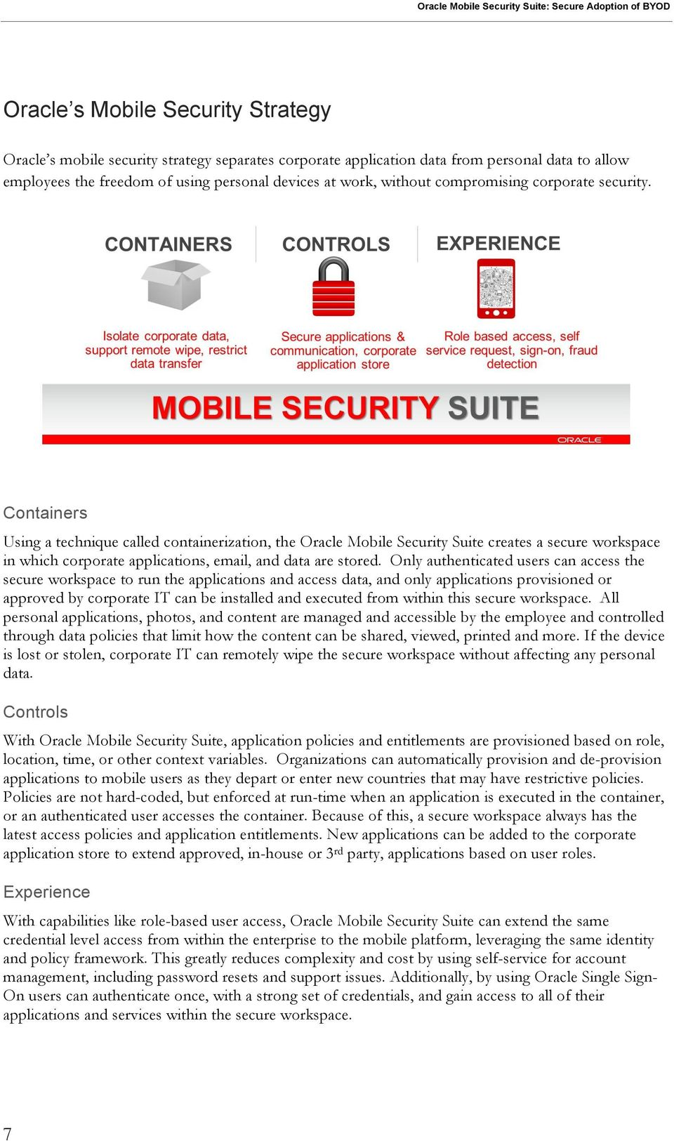 Containers Using a technique called containerization, the Oracle Mobile Security Suite creates a secure workspace in which corporate applications, email, and data are stored.