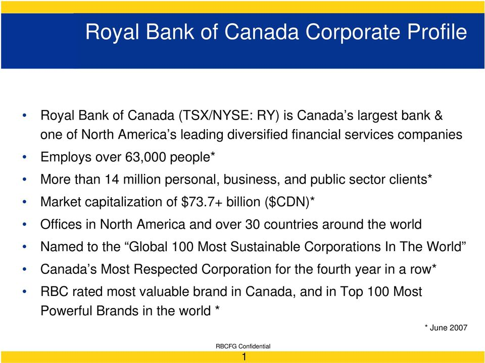 7+ billion ($CDN)* Offices in North America and over 30 countries around the world Named to the Global 100 Most Sustainable Corporations In The World