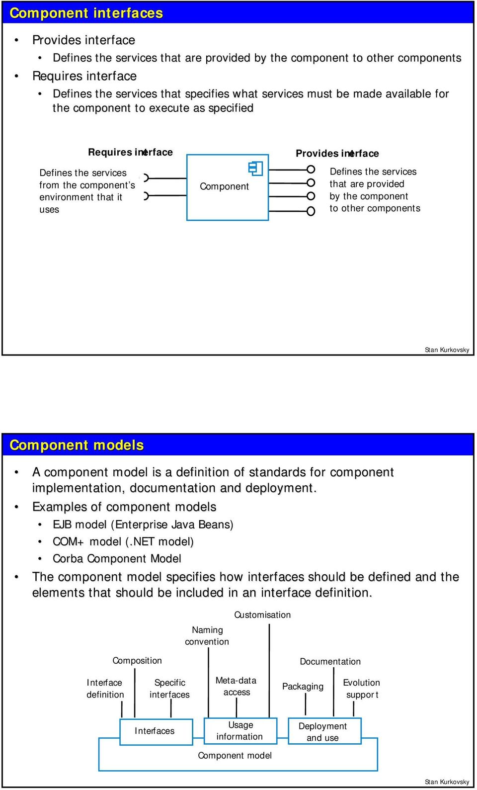 provided by the component to other components Component models A component model is a definition of standards for component implementation, documentation and deployment.